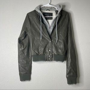 Obey Bomber Leather Jacket Sweatshirt Lined Hooded